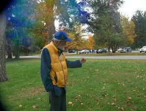 Environmental advocate and dowser David Yarrow, standing in one of the energy fields he has identified at the Lincoln Bathhouse site. He is holding his hand at the edge of the field. The camera clearly shows the aura of the energy field to David's left and no aura (clear space) to his right. Copyright 2006, Lorna Reichel. All rights reserved.